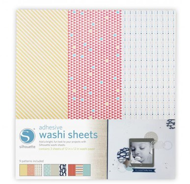 Silhouette Adhesive Washi Paper 3 sheets\9 patterns  12 x 12inches